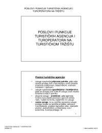 Poslovi i f-je agencije i turop-Vezbe-Turisticke agencije i turoperatori-Turizam