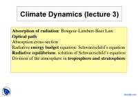 Absorption of Radiation - Climate Dynamics - Lecture Slides