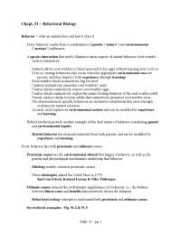 Behavioral Biology - Biology for Science Majors II - Lecture Notes