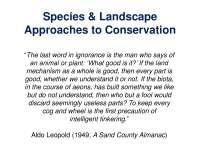 Species and Landscape - Conservation Biology - Lecture Slides