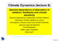 Spectral Dependence of Absorption - Climate Dynamics - Lecture Slides