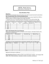 Reverberation Time - Noise Control - Lab Manual
