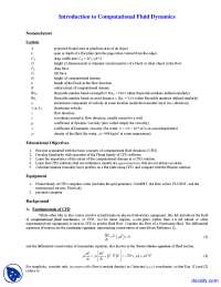 Computational Fluid Dynamics - Fluid Flow - Lab Manual