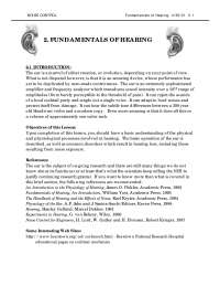 Fundamentals of Hearing - Noise Control - Handout