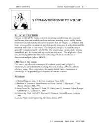 Human Response to Sound - Noise Control - Handout