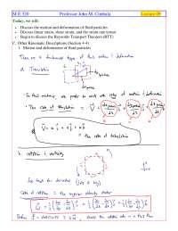 Reynolds Transport Theorem - Fluid Flow - Handout