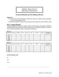 Acoustic Materials - Noise Control - Lab Manual
