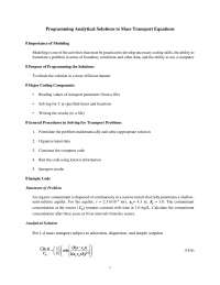 Programming Analytical Solutions - Groundwater Flow and Contaminant Transport - Lecture Handout