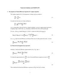 Numerical Solutions - Groundwater Flow and Contaminant Transport - Lecture Handout