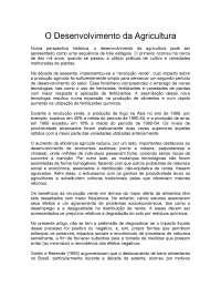 o Desenvolvimento da Agricultura