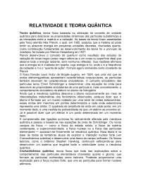 a Relatividade e Teoria Quântica