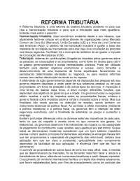 A Reforma tributária: a tributação