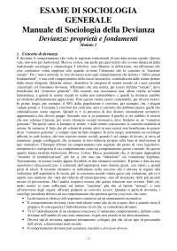 Appunti di sociologia della devianza - Esame sul Manuale di Gennaro
