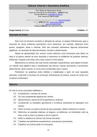 Cálculo Vetorial e Geometria Analítica - UFPB, Notas de estudo de Cálculo