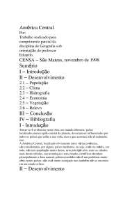 América Central e o seu desenvolvimento