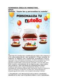 Trabajo Economia de la Empresa sobre marca Nutella