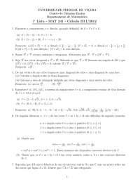 Matemática Lista I - MAT 241 - 2012-I