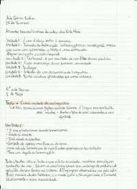 O Texto: aulas em classe