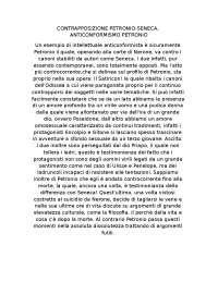 CONTRAPPOSIZIONE PETRONIO-SENECA, ANTICONFORMISMO PETRONIO