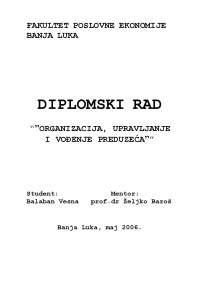 Balaban Vesna-Organizacija upravljanjei vodjenje preduzeca-prof. dr Z.Baros