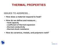 Thermal Expansion, Heat Capacity - Solid State Physics - Lecture Slides