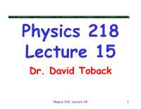 Work and Energy Summary - Mechanics - Lecture Slides