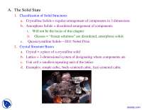 Solid State - Advanced Inorganic Chemistry - Lecture Slides