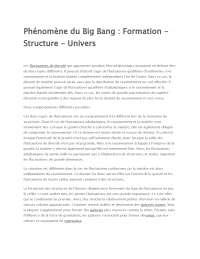 Notes sur le phénomène du Big Bang: formation - structure - univers