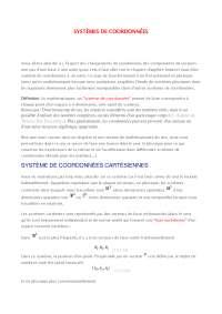 Notes sur les systèmes de coordonnées