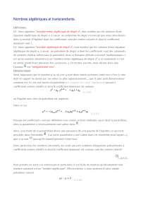 Notes sur les nombres algébriques et transcendants