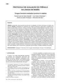 Protocolo de avaliação do frênulo em bebes, Notas de estudo de Fonoaudiologia
