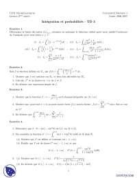 Exercices de intégration et de probabilités