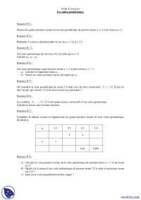 Exercices sur les suites géométriques