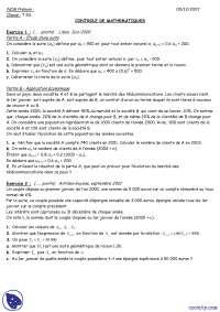 Controles de mathématique, Exercices de Mathématiques Appliquées