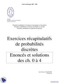 Exercices récapitulatifs de probabilités discrètes - 1° partie