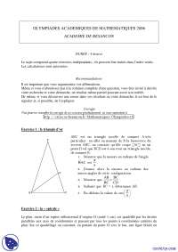 Exercices de mathématique pour les Olympiades academiques de mathematiques 2006 Academie de Besançon., Exercices de Mathématiques Appliquées