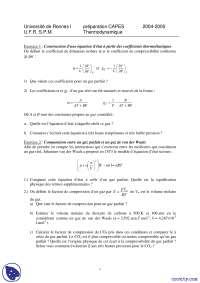 Exercices de thermodynamique