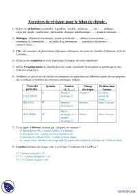 Exercices de révision pour le bilan de chimie, Exercices de Chimie Appliquée