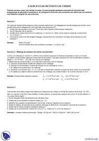 Exercices de révisions de chimie