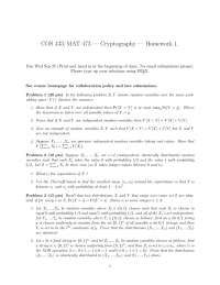 Random Variables - Introduction to Cryptography - Homework