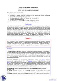 Exercices concernant les rappels de chimie analytique, Exercices de Chimie analytique