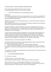 Notes sur les sources de la règle de droit international