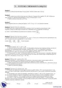 Exercices sur les systemes thermodynamiques
