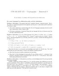 Complexity Theoretic - Introduction to Cryptography - Homework