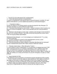 Notes sur le droit international de l'investissement - 1° partie