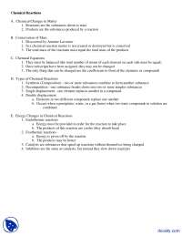 Chemical Reactions - Forensic Sciences - Lecture Notes