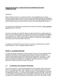 Notes sur les règles relatives à l'abus de position dominante en droit communautaire, Notes de Droit et pratiques bancaires