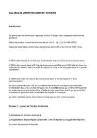 Notes sur les abus de domination en droit français