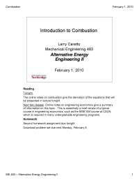 Combustion - Alternative Energy Engineering - Lecture Notes