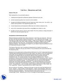 Dimensions and Units - Thermodynamics - Lecture Notes
